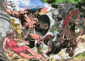 CONAN vs DEATH DEALER  colored commission