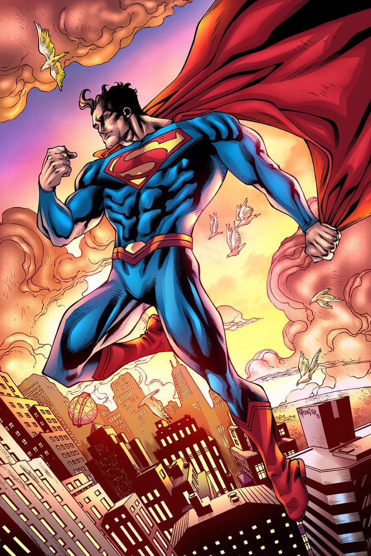 SUPERMAN OVER METROPOLIS  in colors by PowRodrix