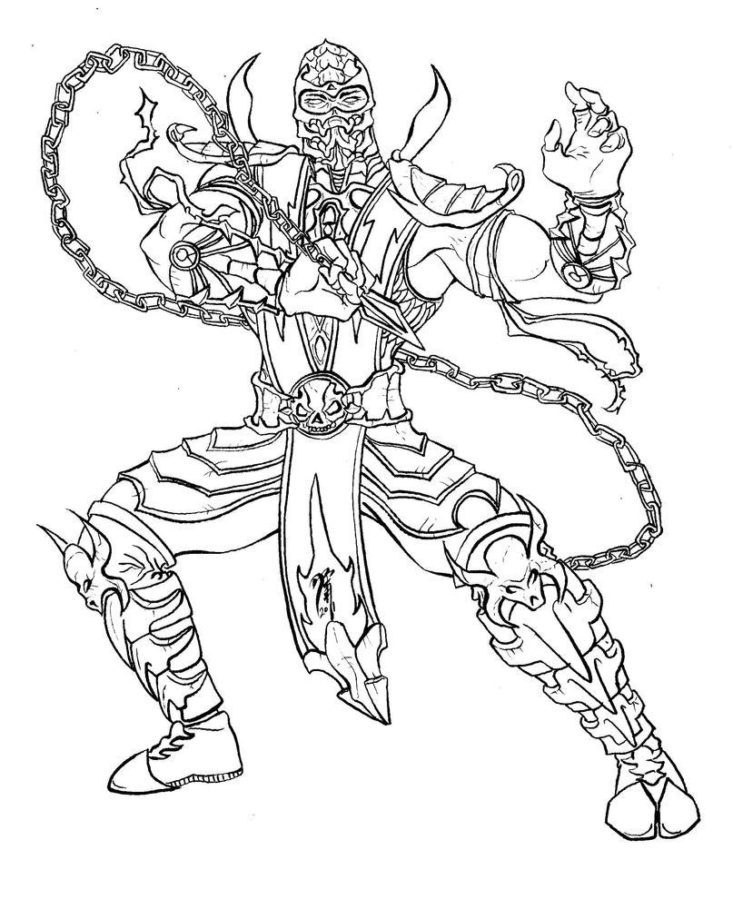 Скорпион мортал комбат раскраска
