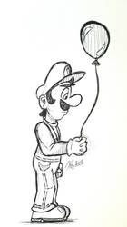 Luigi - Ink Sketch by lefthandlover