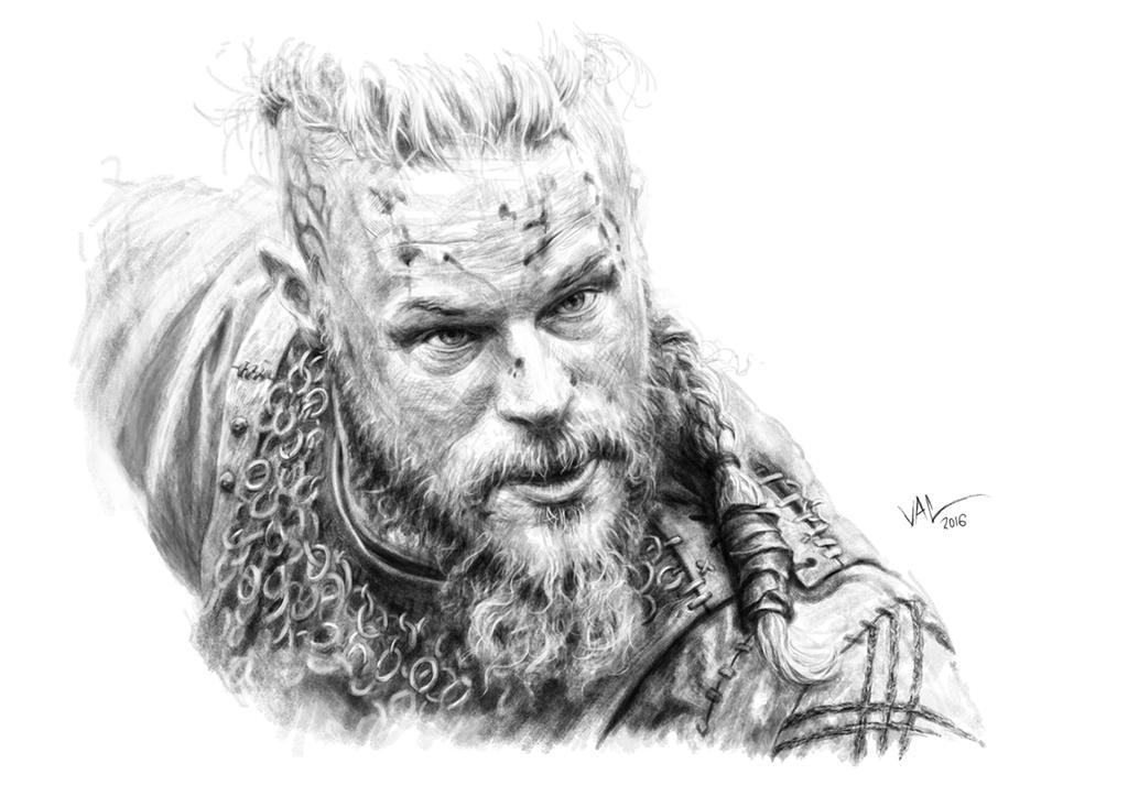 Ragnar Lodbrok - Vikings - Pencil Portrait by inkoutofthebox