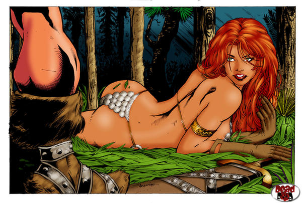 red sonja e barbaro color by amorimcomicart