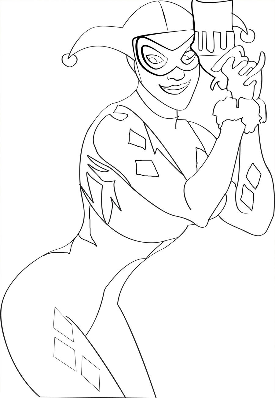 Quinn Line Art : Harley quinn line art by poprocks on deviantart