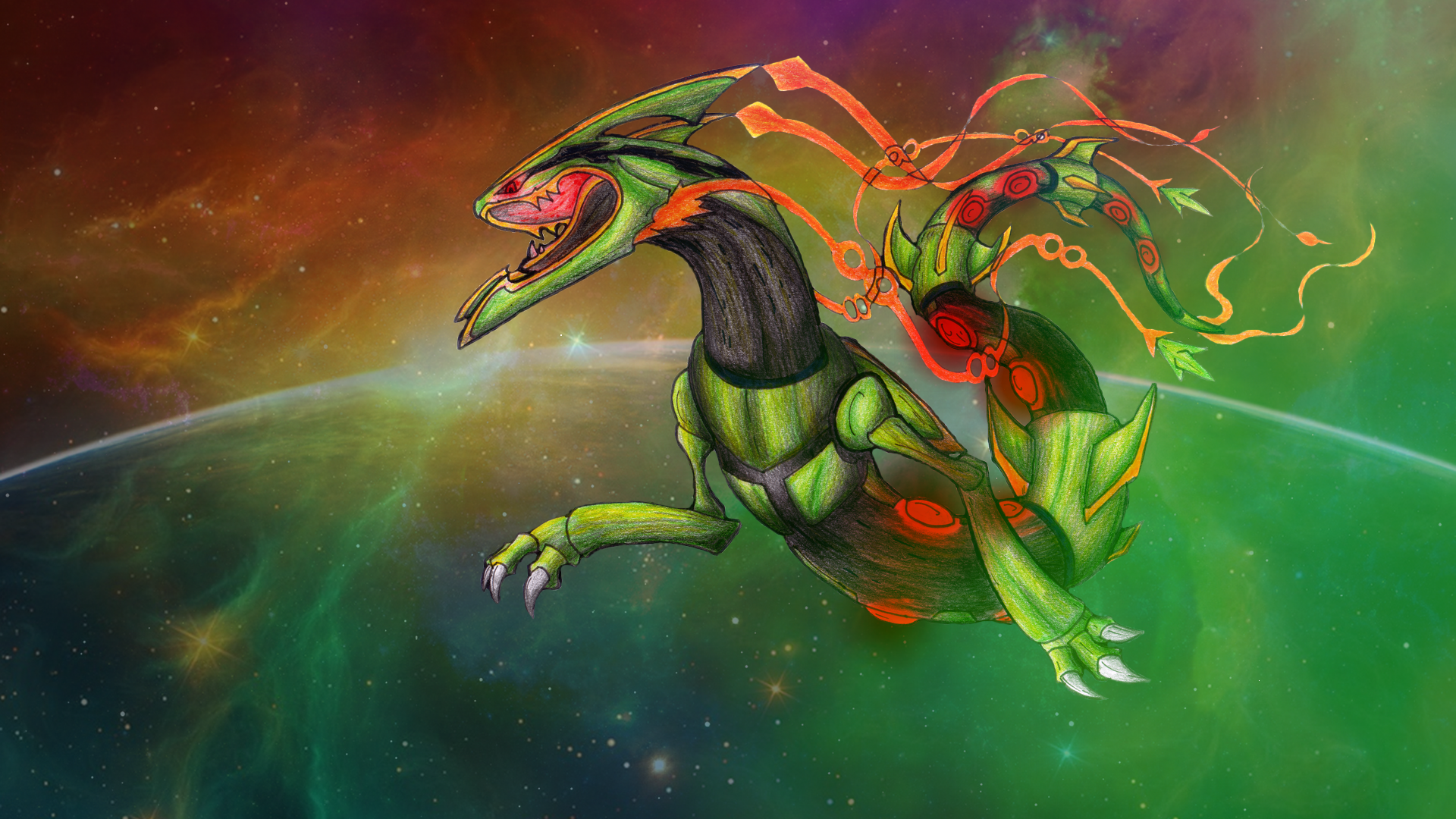 Space Roar (Mega-Rayquaza FanArt)-Wallpaper by lululock71 ...