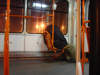 Headless tram rider by Devilangelo