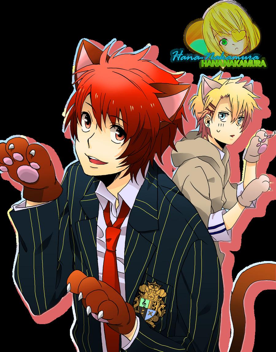 Otoya and Shou cat render by Hana-Nakamura