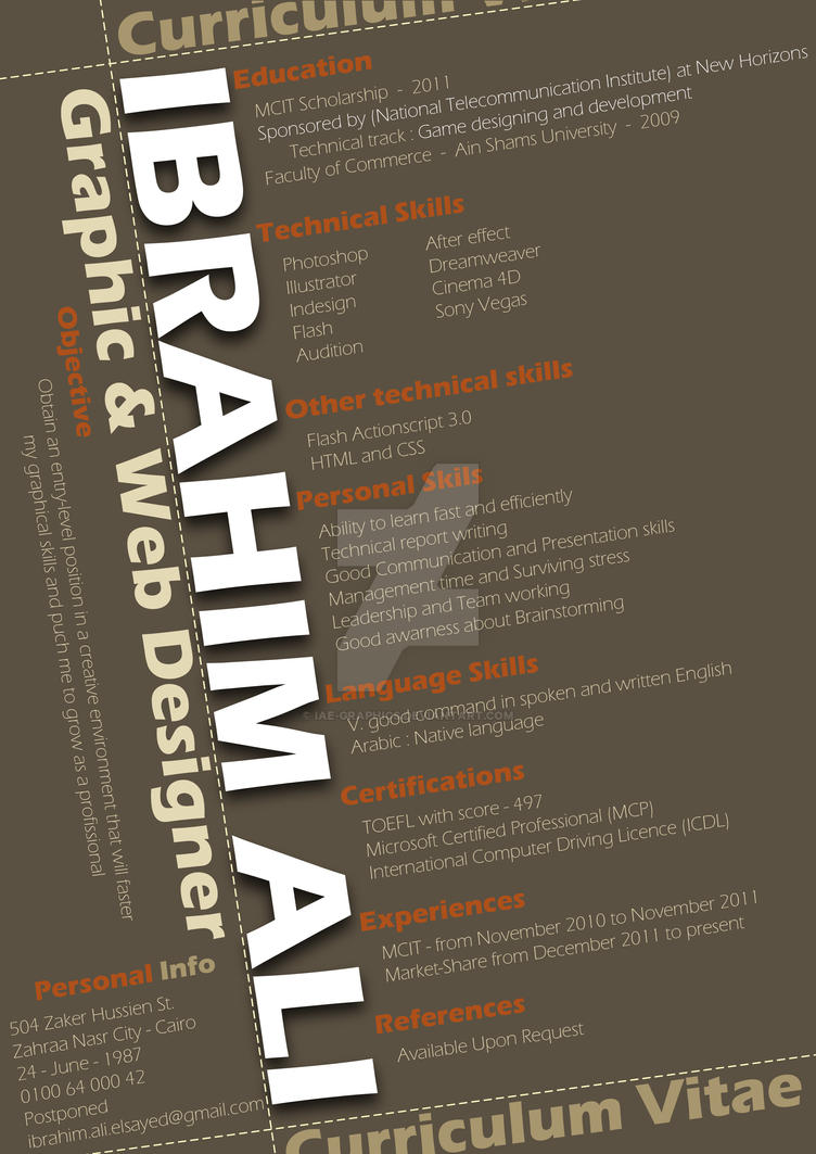 ibrahim ali graphic web designer creative cv by iae