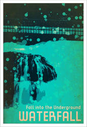 Waterfall WPA Poster by smoochie-doodles
