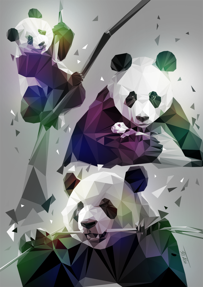 Pandas LowPoly by T-ry