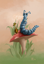 The blue caterpillar by T-ry