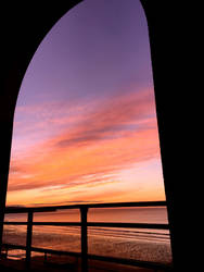 Sunset Through Pavilion Arch by Lisa-Downing