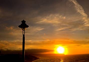 Fiery Sunset With Lamppost by Lisa-Downing
