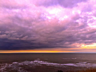 Purple Clouds Yellow Sky by Lisa-Downing