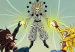 Goku y Vegeta Super Saiyan Mystic 4 vs Tengu