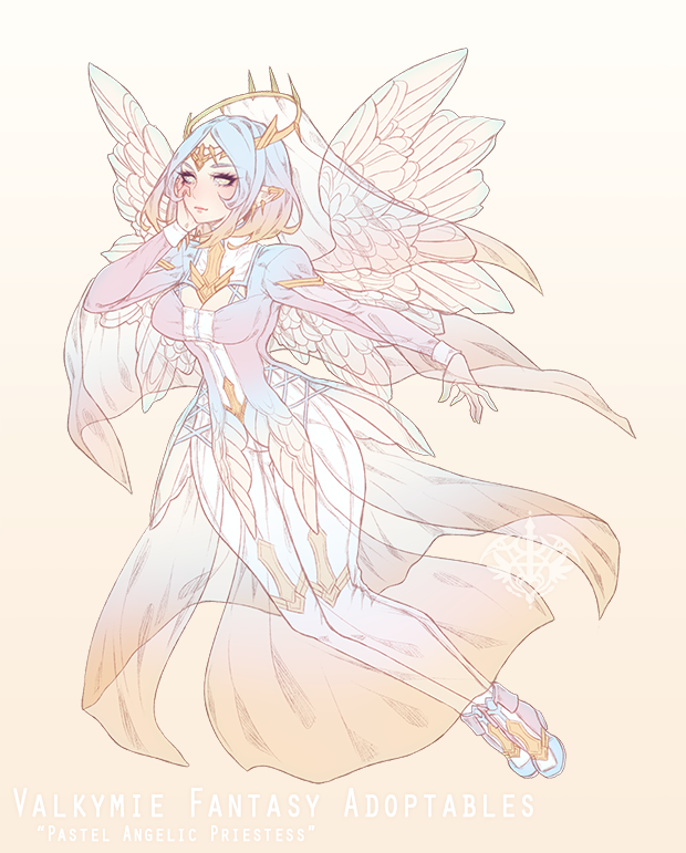 [CLOSED|HB:$100] Pastel Angelic Priestess Adopt by Valkymie
