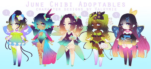 [OPEN] June Pixie Adopts by Valkymie