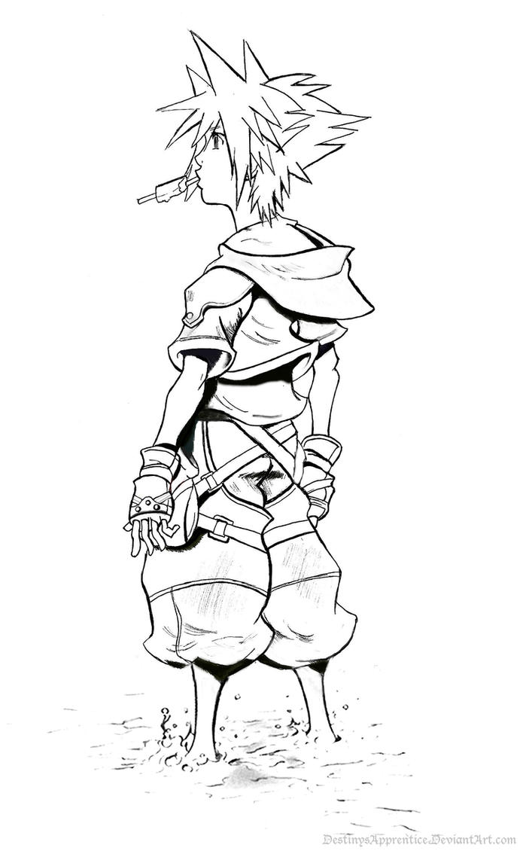 Sora Kingdom Hearts Lineart : Sora kingdom hearts lineart by destinysapprentice on