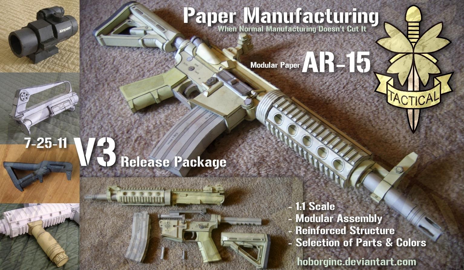 Modular Paper AR15 V3 by Hoborginc
