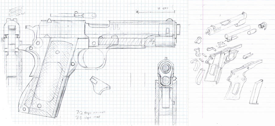 Pm 1911 blueprint by hoborginc on deviantart for What size paper are blueprints printed on
