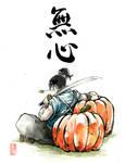 Samurai on a giant pumpkin