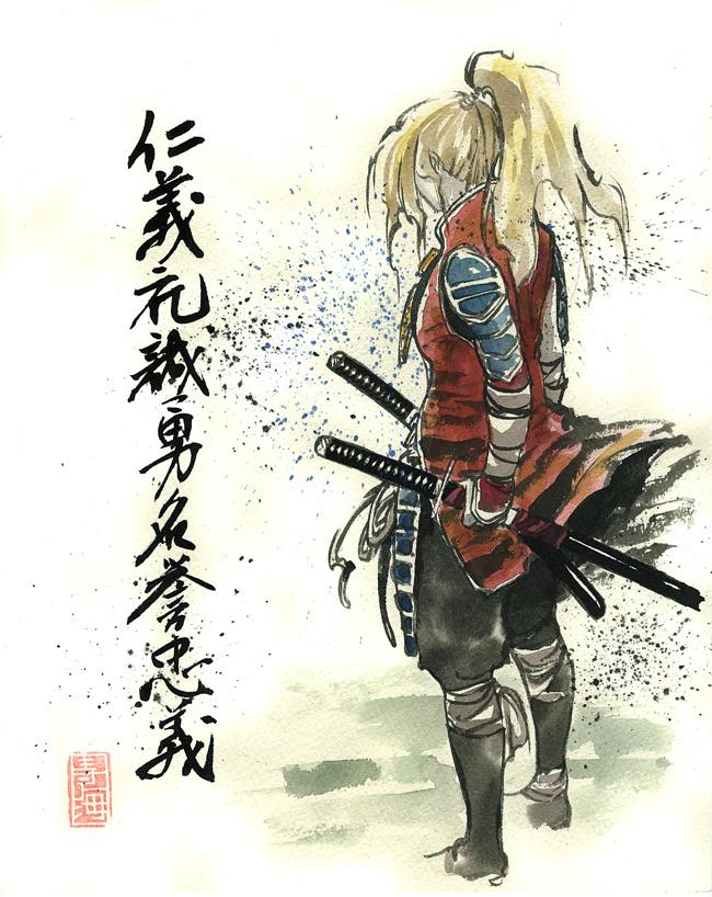 Blond Girl Samurai by MyCKs
