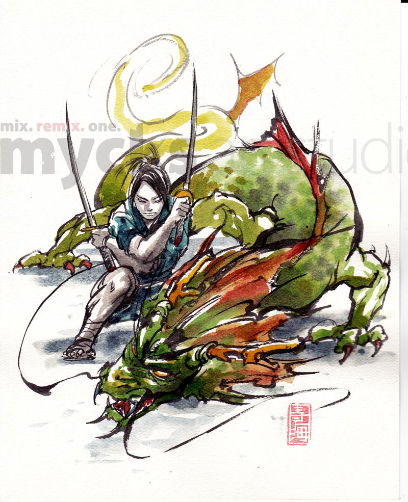 Samurai and Dragon by MyCKs