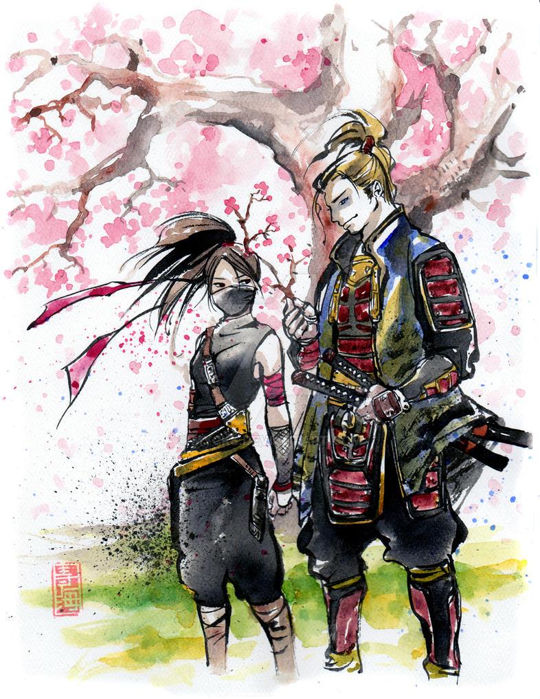Ninja girl and samurai by MyCKs on DeviantArt