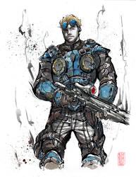 Damon Baird from Gears of War Sumie style by MyCKs