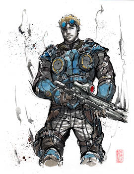 Damon Baird from Gears of War Sumie style
