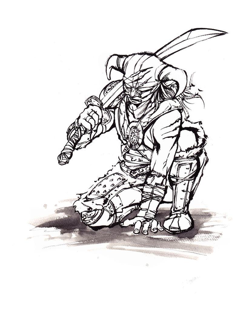 Skyrim Dragonborn Sumie Line Art By Mycks On Deviantart