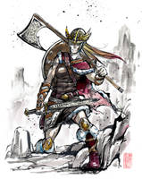 A viking girl Sumie style by MyCKs