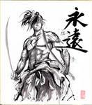 Samurai Sumie on Shikishi paper