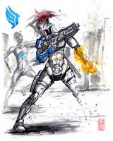 Mass Effect OC Blue N7 Marine Sumie style by MyCKs