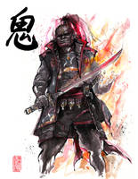 Ganon sumi style with calligraphy by MyCKs