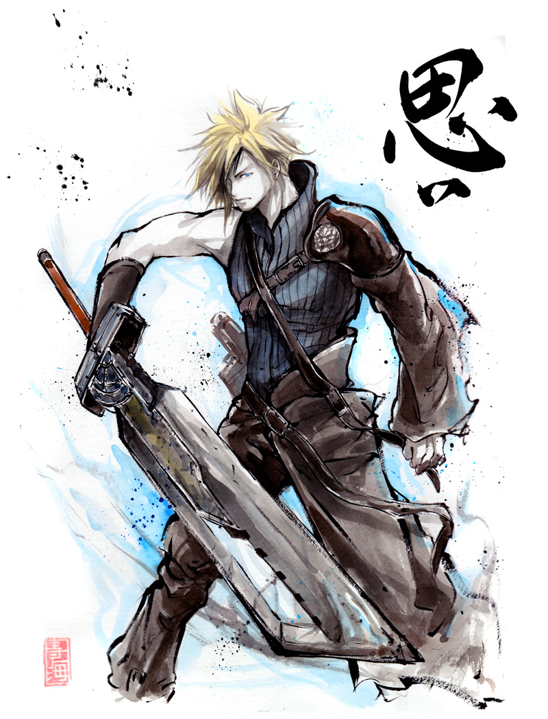 Cloud from Final Fantasy Sumi style by MyCKs