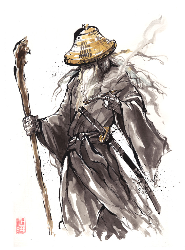 Gandalf Samurai sumi style by MyCKs