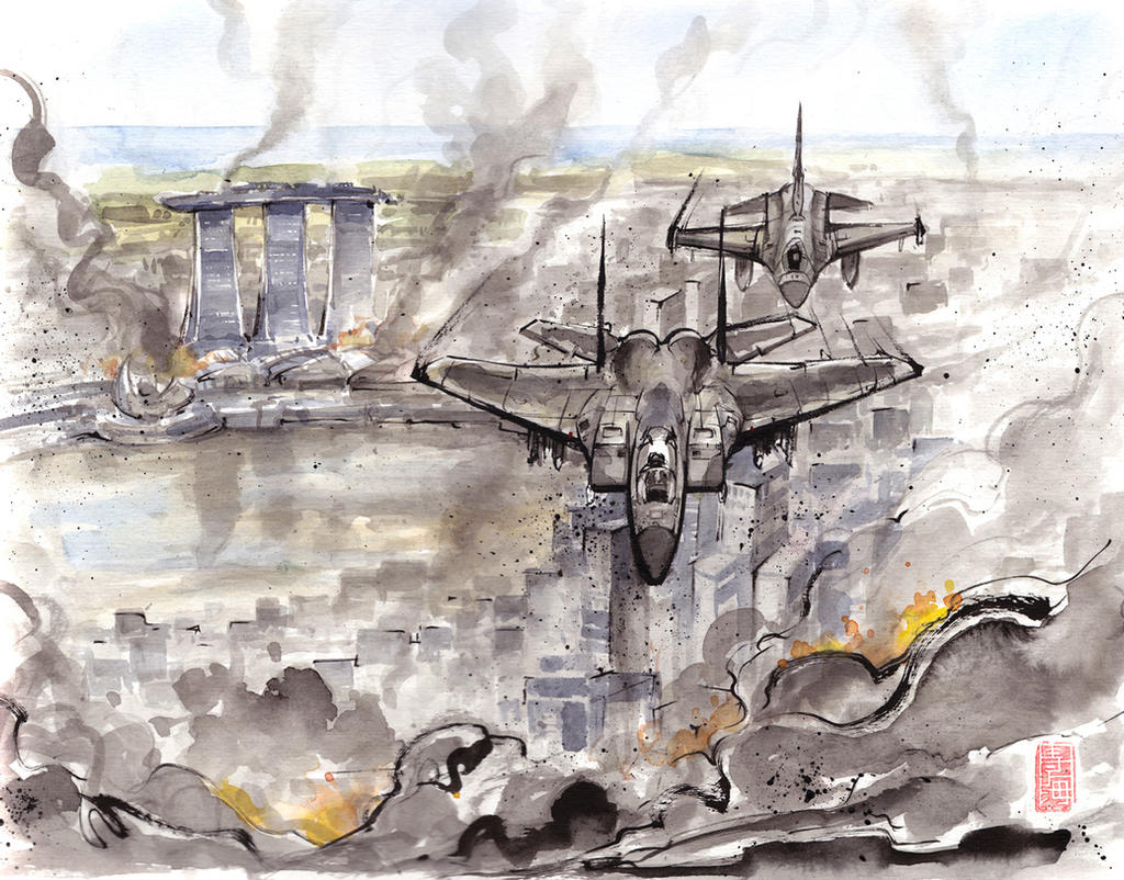 Fighter planes flying over city by MyCKs