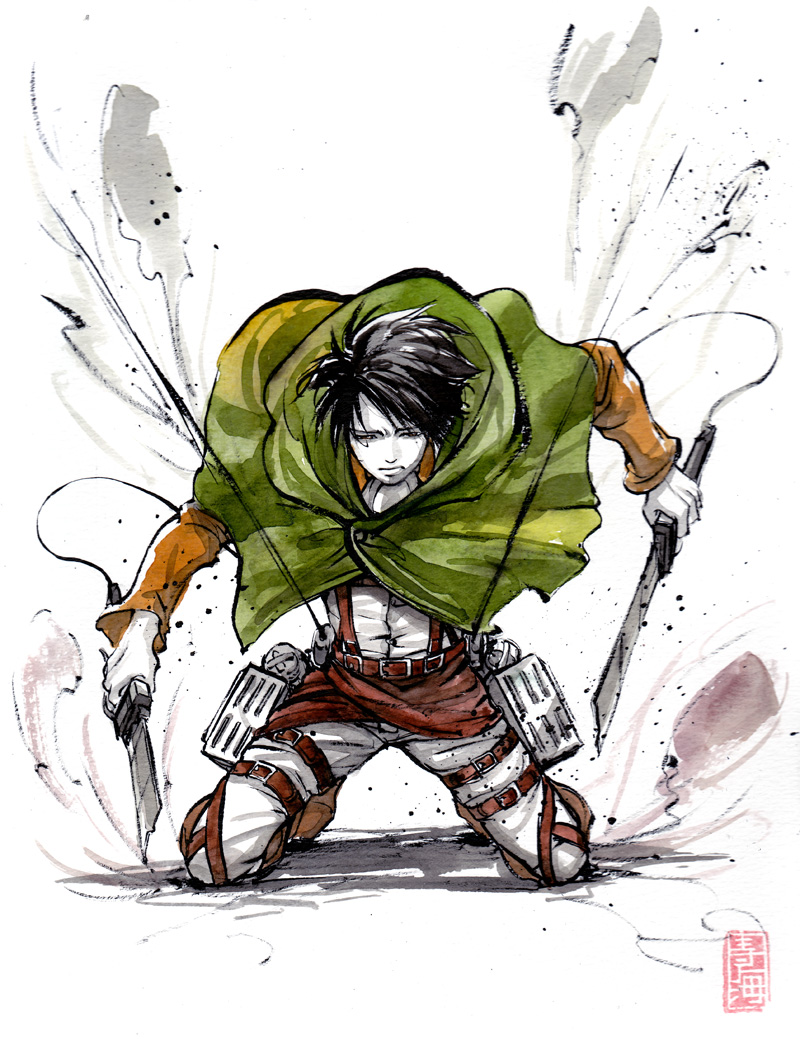 Levi from Shingeki no Kyojin Sumi and watercolor by MyCKs