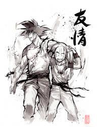 Dragon Ball Goku and Krillin Sumi style by MyCKs