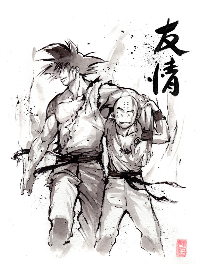 Dragon Ball Goku and Krillin Sumi style by MyCKs