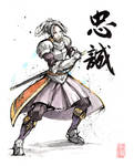 Chris from Suikoden III with calligraphy
