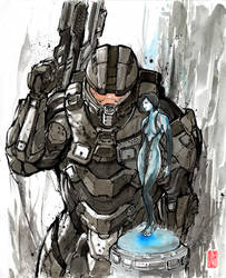 Master Chief and Cortana with sumi and watercolor