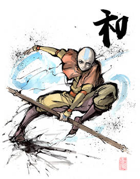 Aang from Avatar with calligraphy