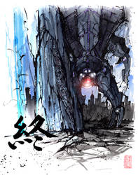 Harbinger, Reaper sumi ink and watercolor by MyCKs
