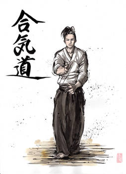 Aikido sumi/watercolor with Japanese calligraphy