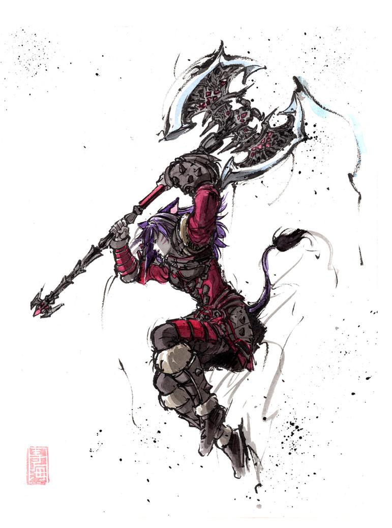 FF14 Custom Character sumi and watercolor by MyCKs