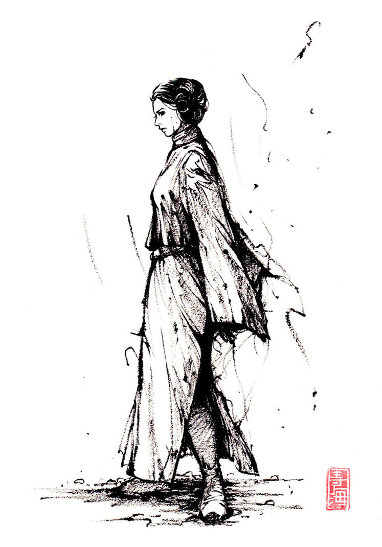 Leia with sumi ink by MyCKs