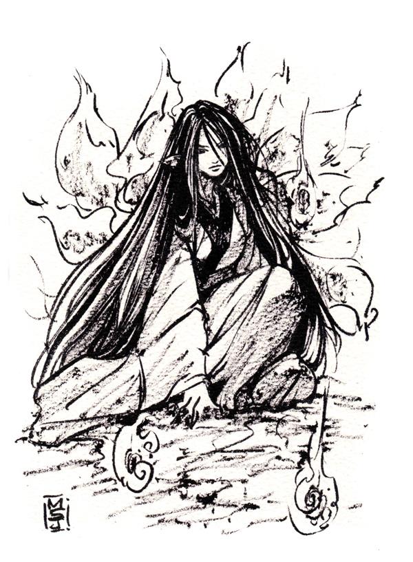 Kyuubi ink sketch by MyCKs