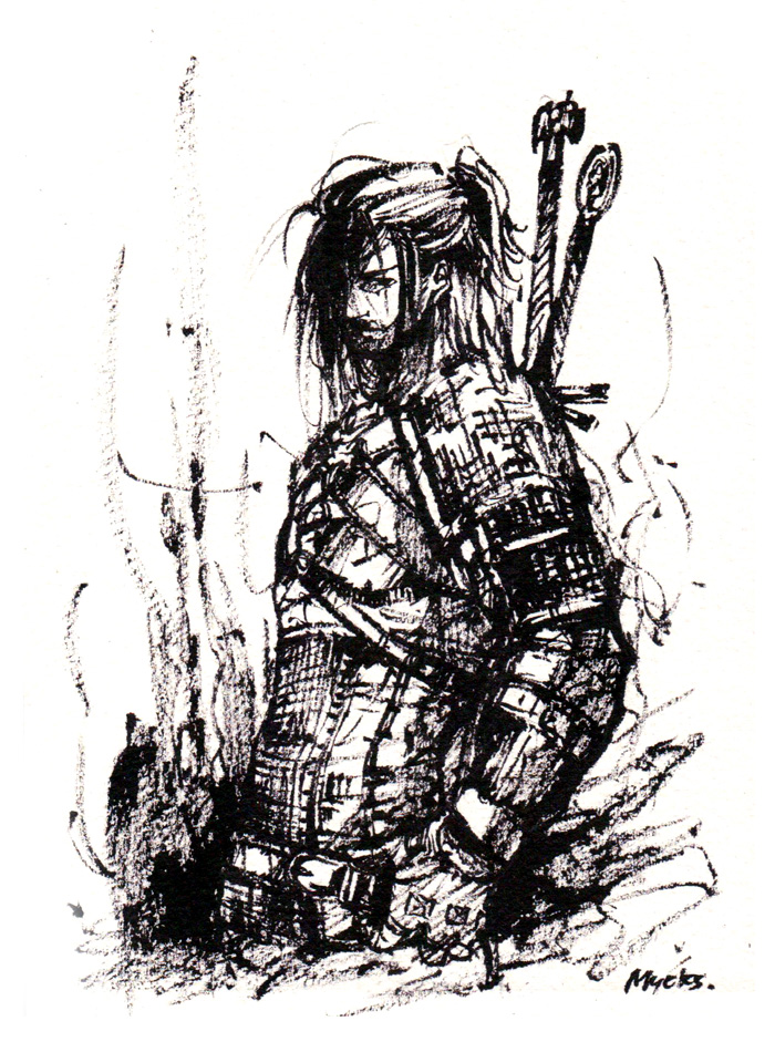 Geralt from Witcher Ink sketch by MyCKs