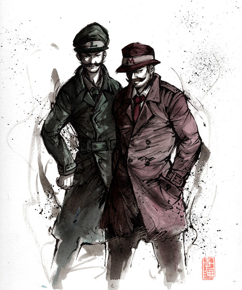 Mario and Luigi detective style by MyCKs